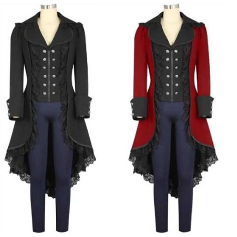 Womens Outwear Steampunk Vintage Tailcoat Winter Military -3292