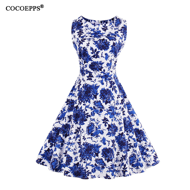 0d73a9ff6b3 2018 Women Vintage Froral Blue and White Porcelain Print Dress Plus Large  Big Size O-neck Dress Summer Swing Sleeveless Clothing