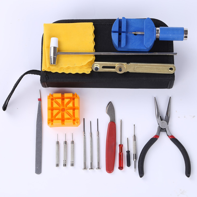 17pcs Clock Watch Tools Watch Repair Tool Kit Set Watch Case Opener Link Spring