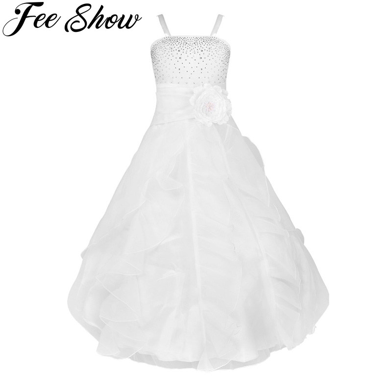2017 Cute Kids Girls Flower Bow Formal Dresses Party Ball Gown Prom Princess Bridesmaid Wedding Children's Tutu Dress Size 2-14Y chic quality letters pattern simple style flax pillow case(without pillow inner)