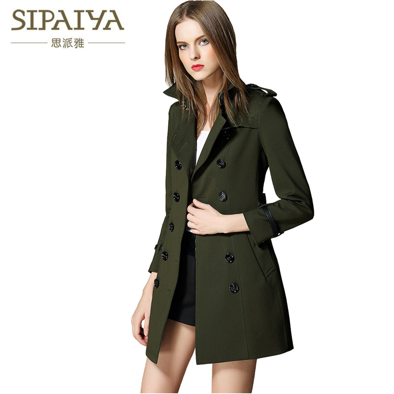 SIPAIYA 2017 Automne Hiver Femmes Coupe-Vent Tranchée Double Breasted B Marque Femmes Trench avec Ceinture