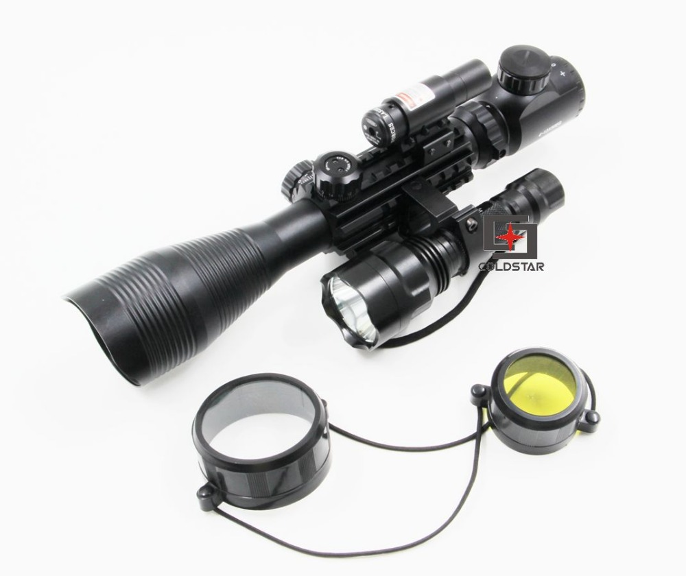 New Arrival Hunting Compact Combo C4-12x50EG Rifle Scope w/ Laser & CREE T6 LED Hunting Flashlight 5Mode C8 Torch Flash Light