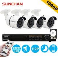 SUNCHAN 8 Channel AHDH Security Camera System 8CH DVR 4PCS SONY 1080P CCTV Camera Home Surveillance