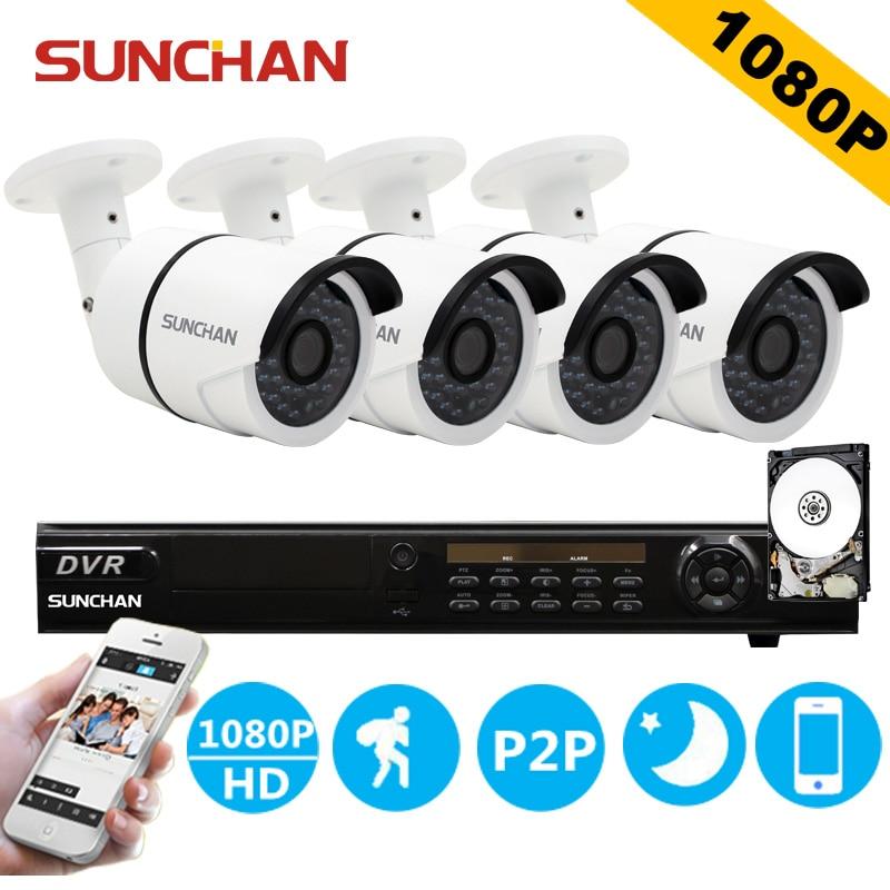 bilder für SUNCHAN 8 Kanal AHDH Security Camera System 8CH DVR 4 STÜCKE 1080 P Cctv-kamera Heimüberwachungssystem Kameras 1 TB HDD