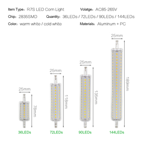 Image 2 - ANBLUB Dimmable Bulb R7S LED Corn 2835 SMD 78mm 118mm 135mm 189mm Light 5W 10W 15W 20W Replace Halogen Lamp 85 265V Floodlight