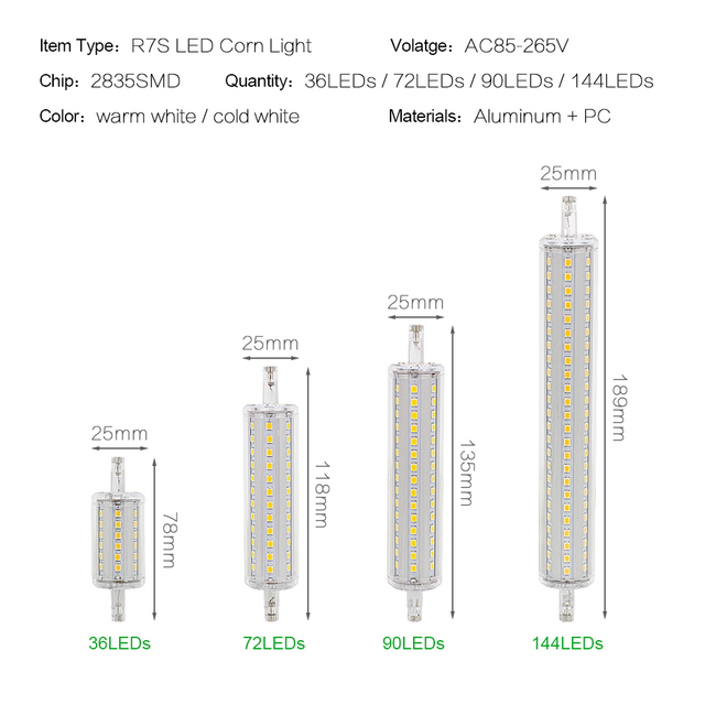 Dimmable Bulb R7S LED Corn 2835 SMD 78mm 118mm 135mm 189mm Light 7W 14W 20W 25W Replace Halogen Lamp AC 85-265V Floodlight