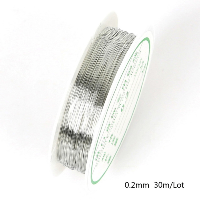 30/20/15/8/<font><b>7</b></font>/5/<font><b>3</b></font>/2m White K Beads Rope Copper Wires Craft Beading Wire For Bracelet Necklace Cord String Jewelry Accessories image