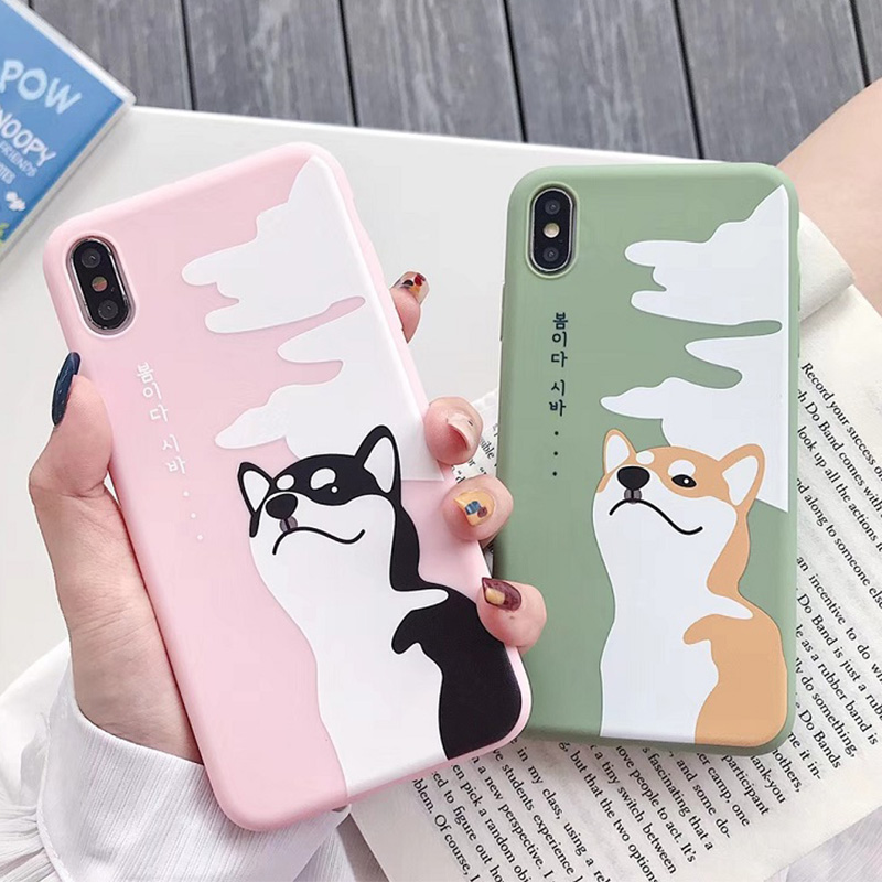 Japanese Style Cute Shiba Inu Corgi Ukiyo Painted tpu Soft Phone <font><b>Case</b></font> for <font><b>iPhone</b></font> <font><b>6</b></font> 6S 7 8 Plus X XS XR XS MAX Cover cute dog image