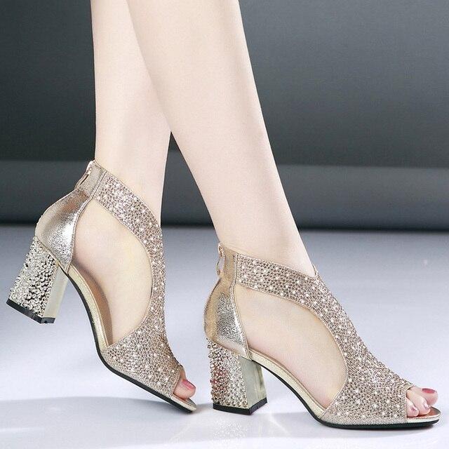 Мода 2018 женские босоножки Bling 7 см Высокие каблуки со стразами Лето квадратный каблук Женская обувь свадебные туфли кожаные сандалии Mujer