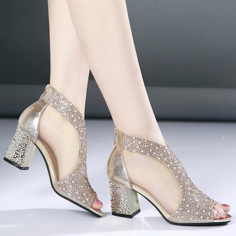 Мода 2018 женские босоножки Bling 7 см на высоком каблуке со стразами Лето квадратный каблук Женская обувь свадебные туфли кожаные сандалии Mujer