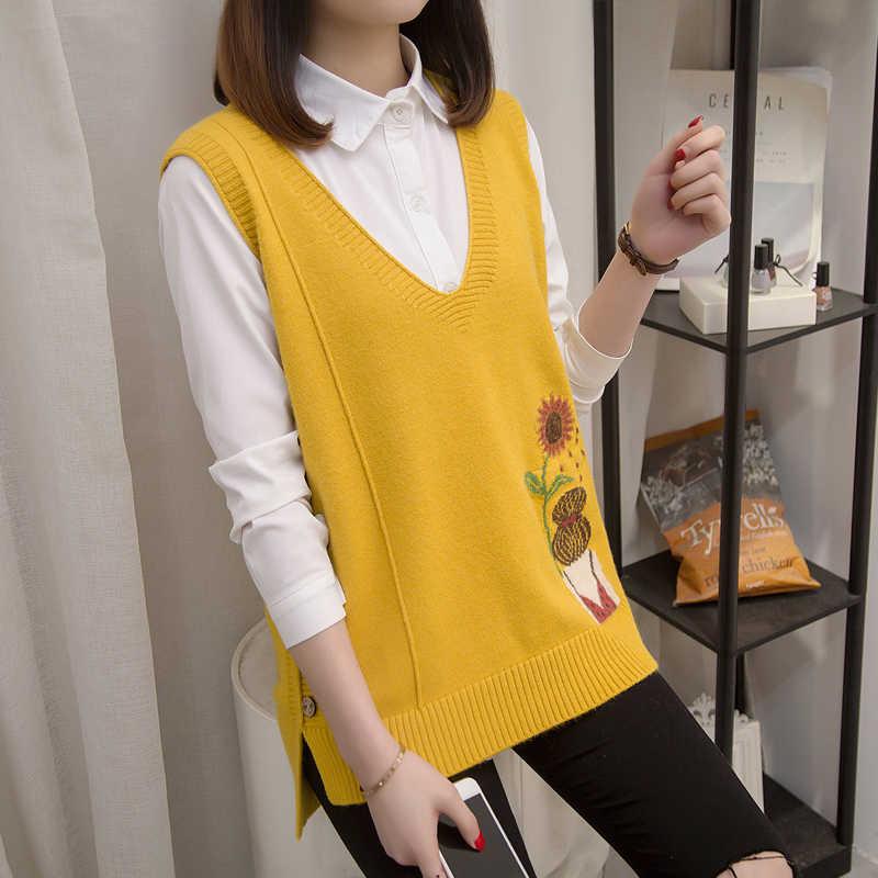 Новая Корейская вязаная рубашка с v-образным вырезом, жилет, свитер, жилет