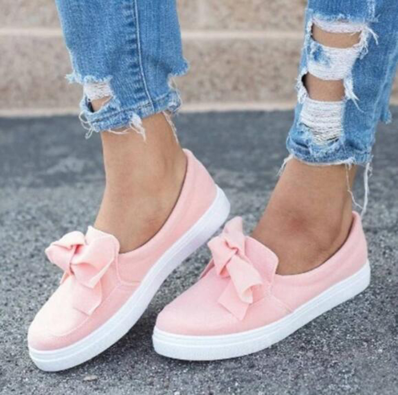 2018 New Autumn Flat Casual Shoes Women Flock Bowknot Sneakers Ladies Slip On Loafers Female Vulcanized Shoes Plus Size 43 women flat shoes new spring female casual women shoes slip on flat leisure bowtie bowknot ladies trend fashion shoes size 35 39
