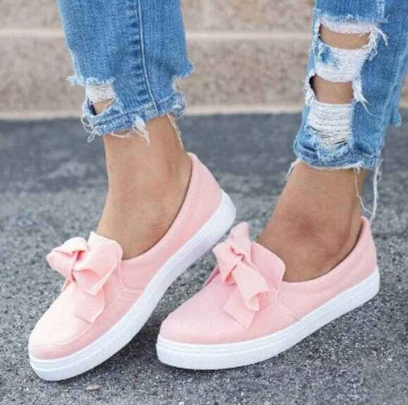 ecbf5236a28d 2018 New Autumn Flat Casual Shoes Women Flock Bowknot Sneakers Ladies Slip  On Loafers Female Vulcanized