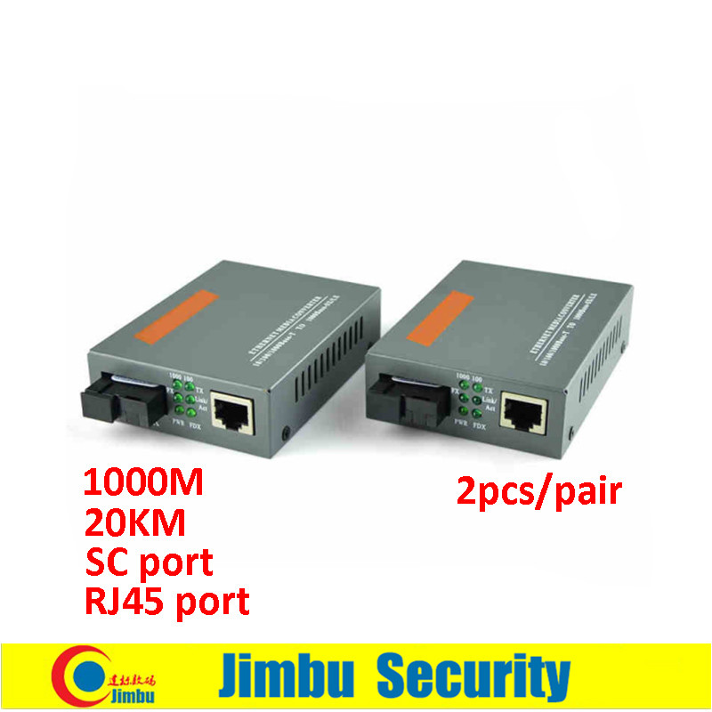 1 Pair Optical Fiber Media Converter Fiber Transceiver A/B 1000M SC-port 20km Singlemode Single Fiber