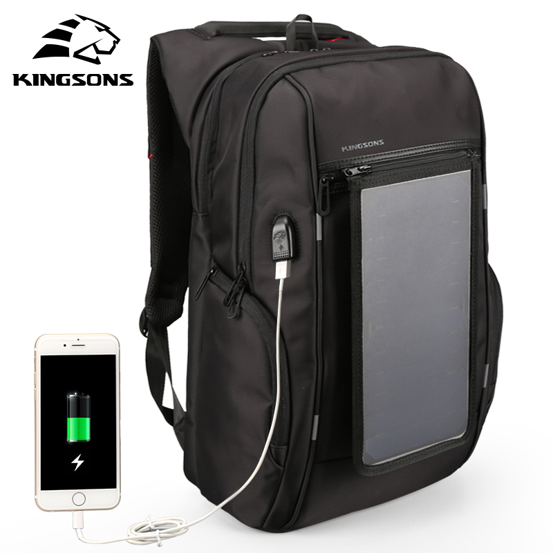 Kingsons Brand 15.6 Solar panels rechargeable External USB Charge backpack Laptop Backpacks Anti-theft Bags for Men New Arrival