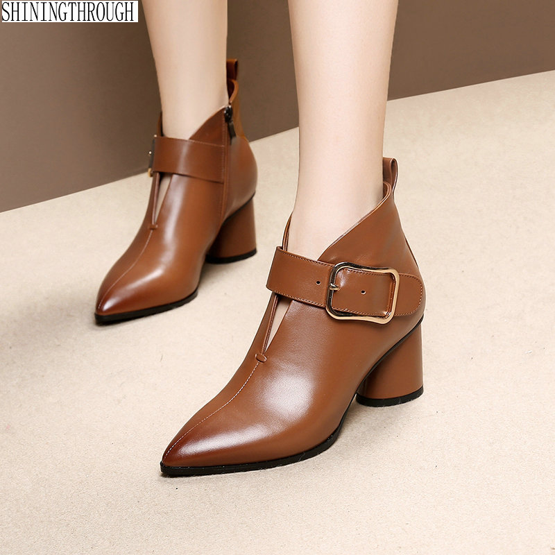 2018 new style genuine leather ankle boots pointed toe rouned heels boots cow leather women boots ladies shoes black brown цены онлайн