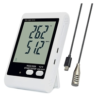 YOWEXA Temperature and humidity loggers with Backlit LCD Display and Sound light Alarm, 3m External Probe Included