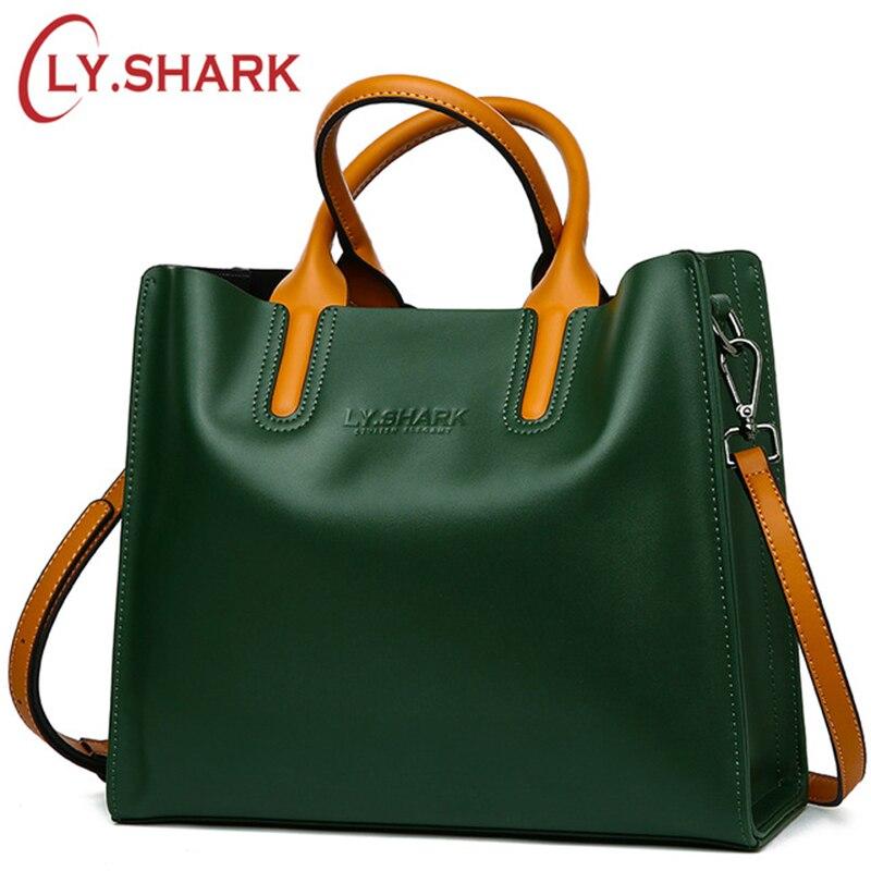 LY. Requin grand sac Messenger femmes sac à bandoulière femme sac dames en cuir véritable sacs pour femmes 2019 femmes sacs à main vert noir