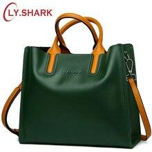 LY.SHARK Big Messenger กระเป๋าผู้หญิงไหล่กระเป๋าหญิงกระเป๋าสุภาพสตรีกระเป๋าหนังแท้สำหรับผู้หญิง 2019 กระเป๋าถือผู้หญิงสีเขียวสีดำ