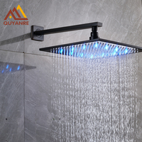 Quyanre Black 16inch LED Shower Head With Wall Mounted Shower Arm Top over LED Rainfall Shower Head