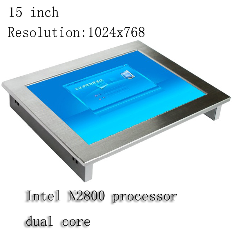 touch screen 15 inch mini fanless industrial panel PC with intel atom N2800 CPU Support  ...