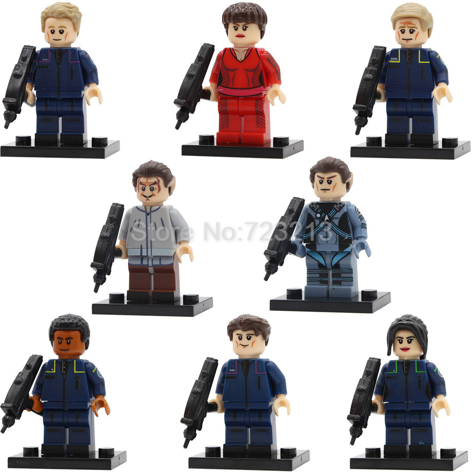 Star Trek 8pcs/lot Spock TPol Figure Set Trip Travis Startrek Enterprise Malcolm Reed Jonathan Building Blocks Toys