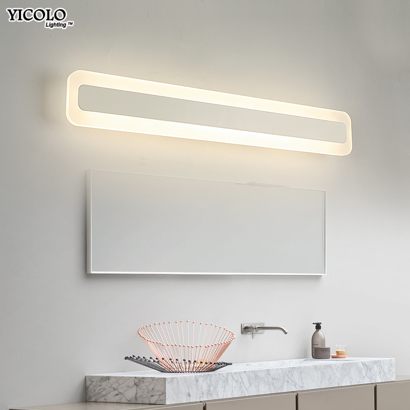 Modern led mirror light 40cm 60cm 80cm 100cm waterproof wall lamp fixture AC90-260V Acrylic wall mounted bathroom lighting modern led mirror light 12w 18w waterproof wall lamp fixture 90 260v aluminum wall mounted bathroom lighting sconce wml005