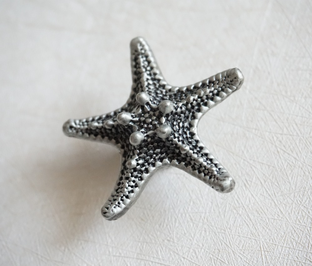 Starfish Sea Star Antique Silver Black Dresser Knob Drawer Knobs  Knobs Handles Kitchen Cabinet Door Handle  Nautical Hardware css clear crystal glass cabinet drawer door knobs handles 30mm