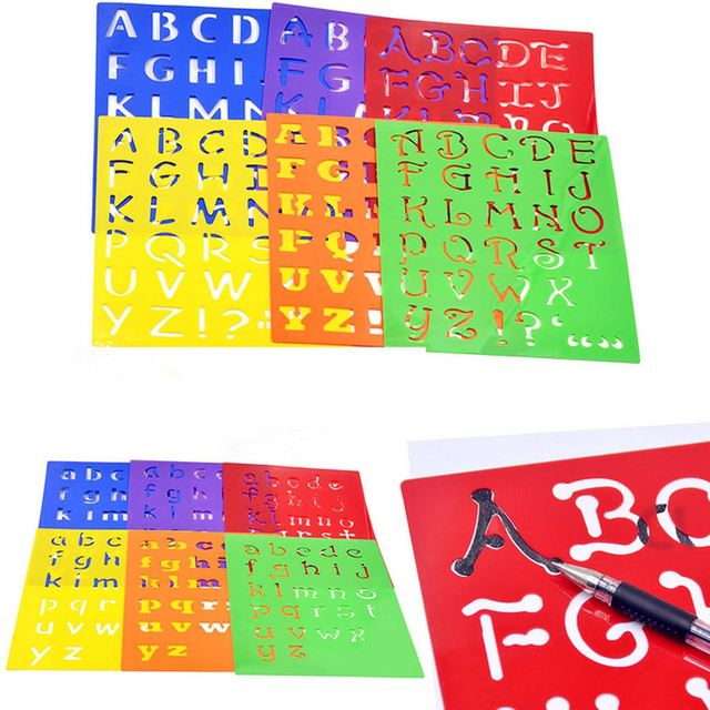 How to make letter stencils for painting newsinvitation kids capitall alphabet letter drawing templates 6pcs washable stencils children educational toys plastic painting spiritdancerdesigns Image collections