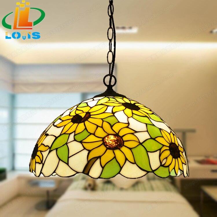 Uitgelezene 40 CM zonnebloemen Europese kroonluchters Tiffany glas lampen CI-72