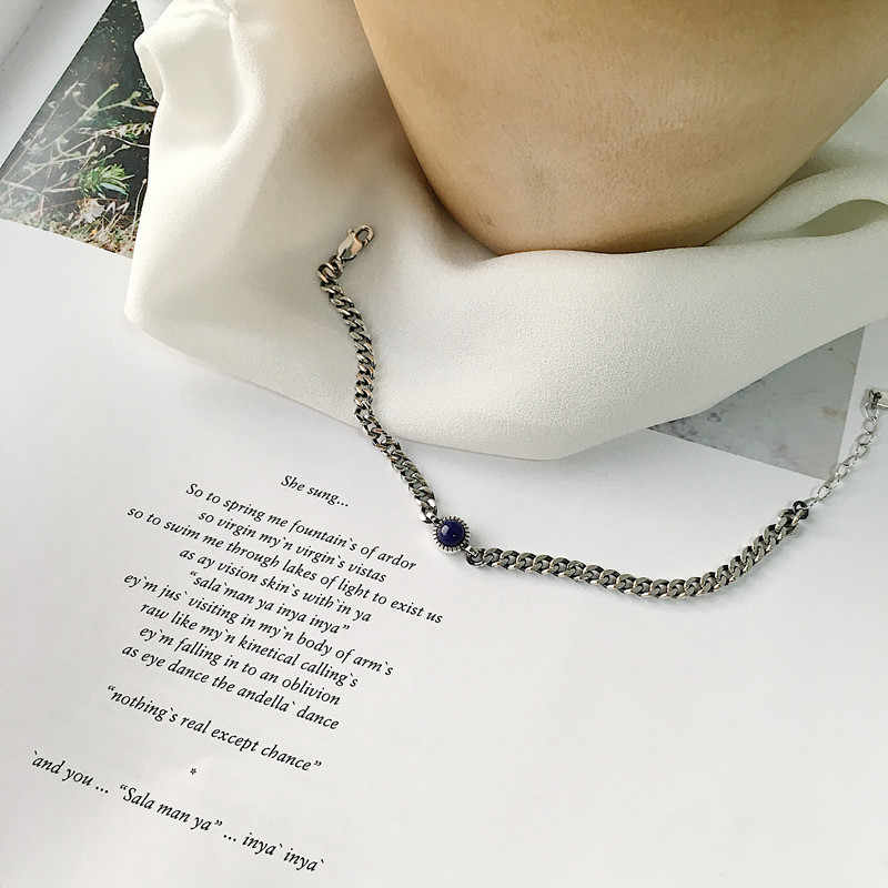 Стерлинговое Серебро 925 браслеты для женщин превосходные ювелирные украшения Винтажные ретро круглые Lapis мини такой же Тип Якорь корейский стиль девушки подарки