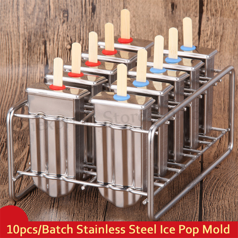 Ice Lolly Mould Stainless Steel Popsicle Molds 10cells/Batch Home DIY Frozen Ice Cream Molds Popsicle Maker frozen stainless steel popsicle molds 10pcs batch stick holder silver home diy round flat ice cream moulds
