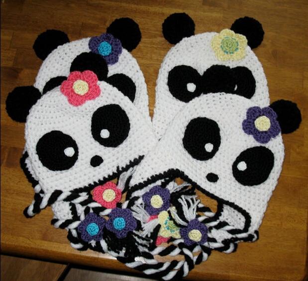 Free Shipping Cartoon Character Crochet Knitted Hat Baby Girls Panda