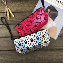 Deformable Women Geometry Quilted Plaid Mosaic Sequins Mirror Wallet Clutch Bag BaoBao Lattice Laser Foldable Cosmetic