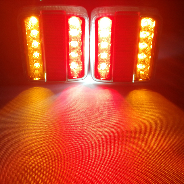 1 Pair AOHEWEI 12v 18 leds trailer light high brightness License Plate brake stop position led light indicator tail light