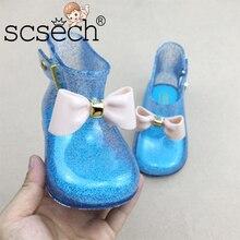 Scsech/Новинка года; непромокаемая обувь с бантом для мальчиков и девочек; удобная обувь принцессы с нескользящей подошвой и прозрачной застежкой для девочек; S8S38