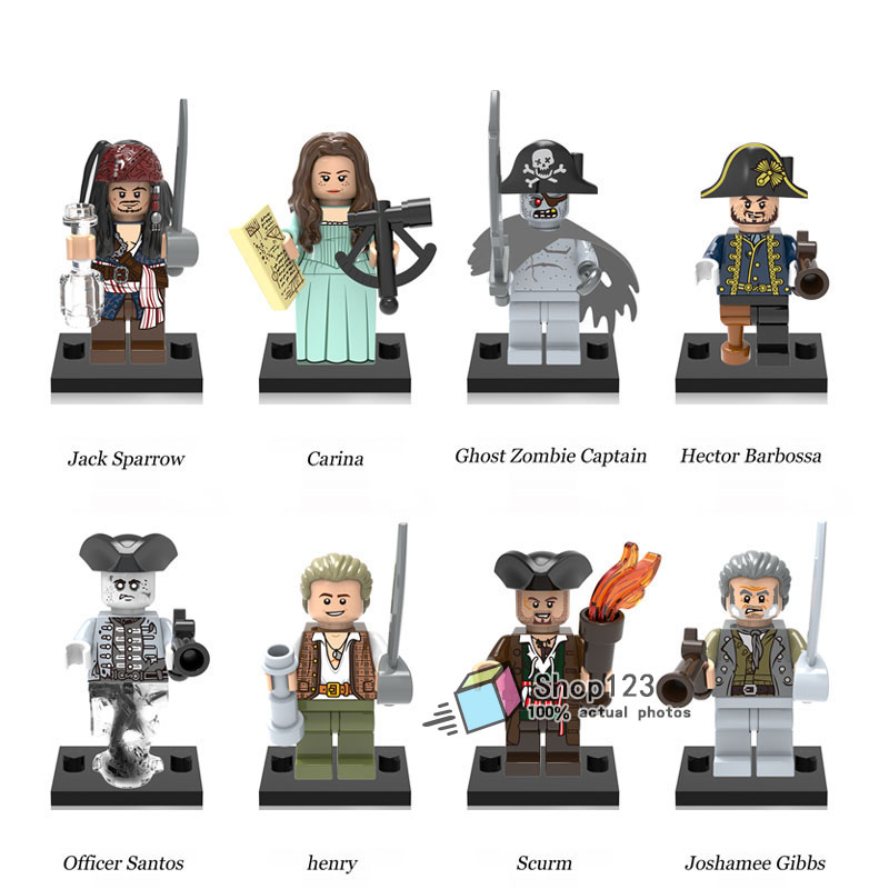 Model Building Spirited 8pcs/lot Legopirates Of The Caribbean Ghost Zombie Jack Sparrow Captain Hector Barbossa Building Blocks Children Gift Toys Toys & Hobbies