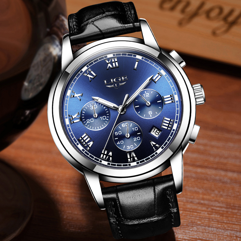 Mens watches top brand LIGE luxury Chronograph Men Sports Quartz Watch Waterproof Leather Men's Wrist watch Relogio Masculino Karachi