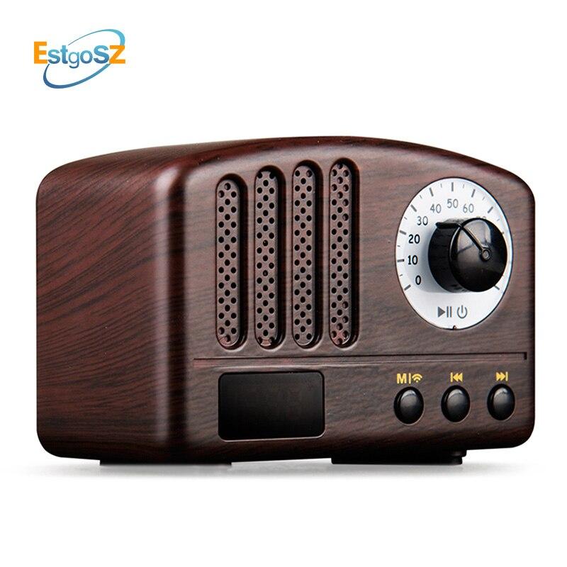 EStgoSZ en bois rétro sans fil Bluetooth haut-parleur 5 W haut-parleur Supprot USB TF carte AUX FM Radio musique barre de son haut-parleur Woofer