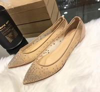 brand women flat shoes wedding shoes Gauze Tip shallow lace water drill full of star mesh yarn nude patent leather flat shoes