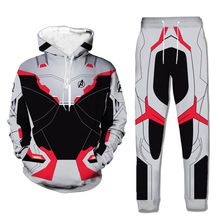 Mens Set 2PC Hooded Spring Sportswear Casual 3D The Avengers Print Tracksuit Male Sweatshirt Hoodies+Pans Suit Hoodies Moleton