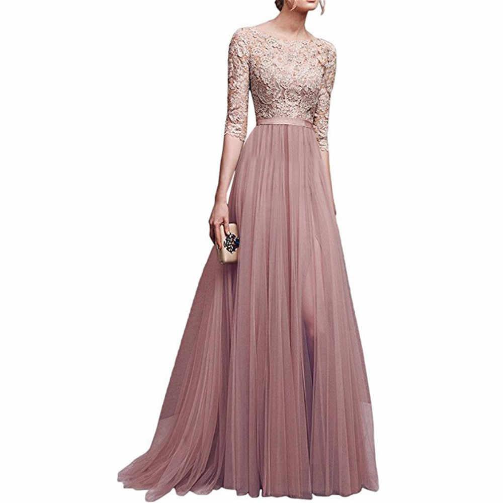 فستان رسمي من Wipalo 2019 أنيق بنصف كم من الشيفون والدانتيل مع خياطة بطول الأرض للنساء للحفلات الراقصة مقاس كبير من Vestidos