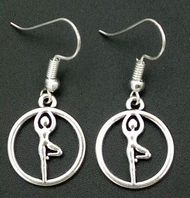 Drop Earrings Creative Silver Gymnast Girl Charm Pendant Dangle Earrings Women Party Jewelry Accessories Holiday Drop Earrings Gifts