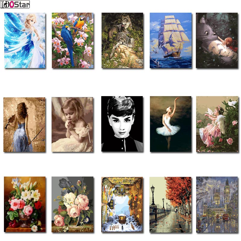 DIY Frame Painting By Numbers Oil Paint Wall Art Pictures Decor For Home Decoration