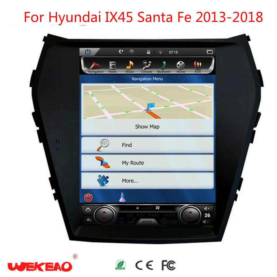 Wekeao 10.4 Vertical Screen Car Radio video player For Hyundai IX45 Santa Fe Tesla Style GPS Multimedia DVD Player Adroid 6.0
