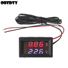 12V/24V LED Display Car Voltage & Water Temperature Gauge Voltmeter Thermometer