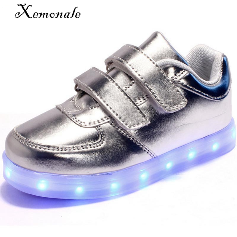 2016 Spring led shoes boys fashion white sneakers PU baby light shoes girls led light sneaker kids running shoes glow shoes USB