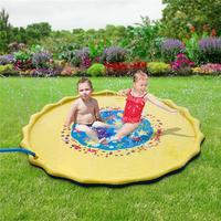 Inflatable Water Sprinkling Mat Toy Yellow PVC Water Spray Pad Summer Swimming Pool Float Children Beach Outdoor Playing Toy