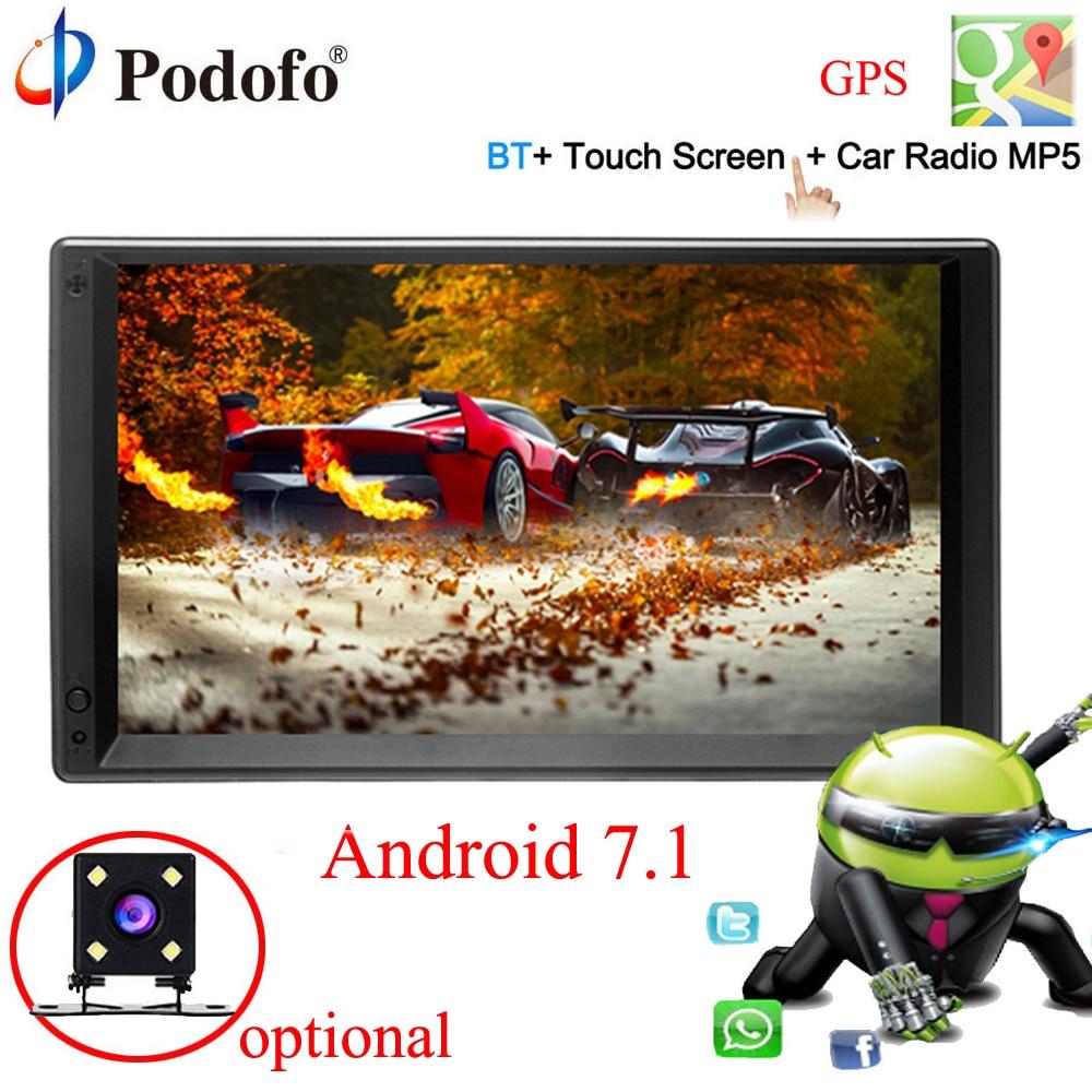 Podofo Android 7.1 2 Din 7 HD Car Radio GPS Navigation Multimedia Player MP5 Touch Screen Autoradio Wifi bluetooth USB FM 2DIN