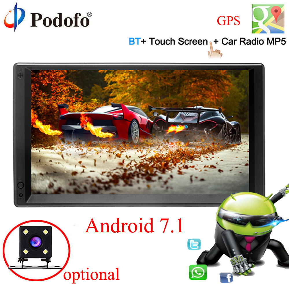 Podofo Android 7.1 2 Din 7 HD Car Radio GPS Navigation Multimedia Player MP5 Touch Screen Autoradio Wifi bluetooth USB FM 2DIN